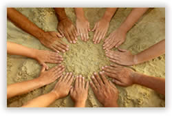 Circle of hands - we are in this together.