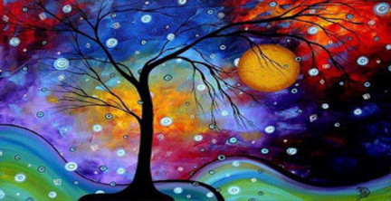 colorful winter season of de-light with tree and moon